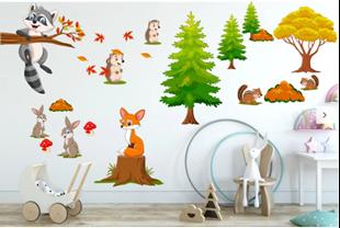 Obrázek Samolepka na zeď Les a jeho zvířátka
