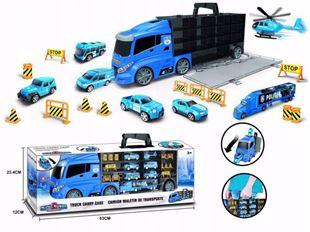 Obrázek Nákladní automobil s autíčky a silničním příslušenstvím Polici Modrá